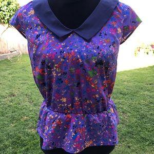 Jessica Simpson purple floral blouse size small